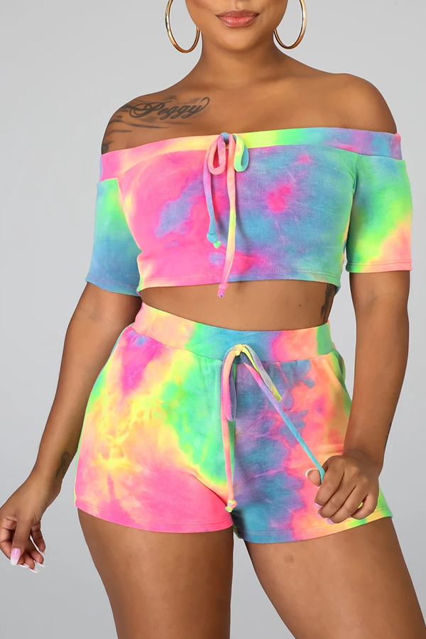 Lovely Leisure Tie-dye Multicolor Two-piece Shorts Set