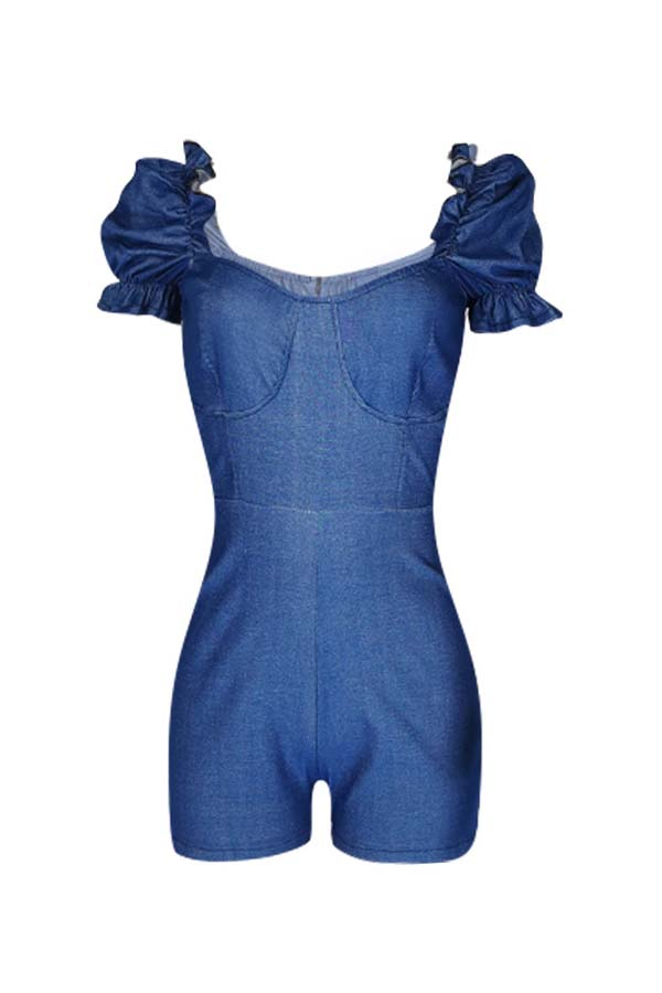 Lovely Trendy Fold Design Blue One-piece Romper