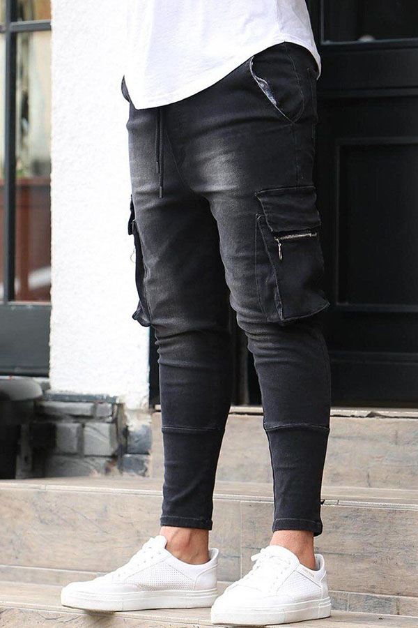 Lovely Trendy Pocket Patched Black Jeans