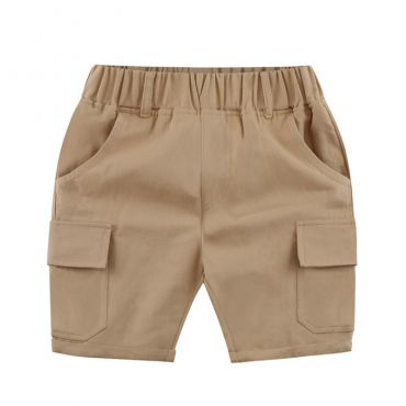 Lovely Casual Pocket Patchwork Khaki Boys Shorts