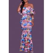 Lovely Bohemian Print Skinny Purple Maxi Dress