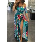 Lovely Chic Print Green Floor Length Dress