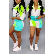 Lovely Chic Patchwork Blue Two-piece Shorts Set