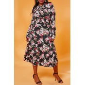 Lovely Casual Print Multicolor Plus Size Dress