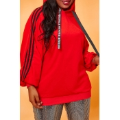 Lovely Casual Patchwork Orange Plus Size Hoodie