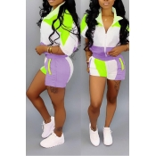 Lovely Chic Patchwork Purple Two-piece Shorts Set