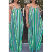 Lovely Casual Striped Loose Green Maxi Dress