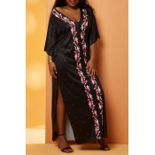 Lovely Casual Print Black Maxi Plus Size Dress