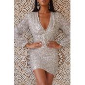 Lovely Casual  V Neck  Silver Mini Prom Dress