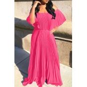 Lovely Bohemian Fold Design Pink Maxi Dress