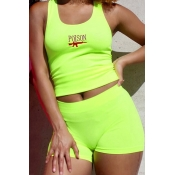 Lovely Chic Print Green Two-piece Shorts Set