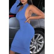 Lovely Trendy Backless Blue Mini Dress