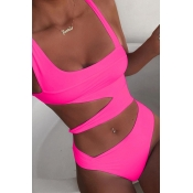 Lovely Hollow-out Rose Red One-piece Swimsuit