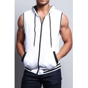 Lovely Trendy Zipper Design White  Vest