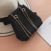 Lovely Casual  Chain Black Crossbody Bag