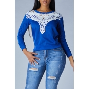 Lovely Casual Patchwork Royalblue Hoodie