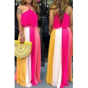 Lovely Chic  Flounce Rose Red Maxi Dress