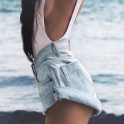 Lovely Trendy Pocket Patched Baby Blue Shorts