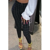 Lovely Casual Grid Print Black Pants