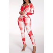 Lovely Casual Printed Red Blending Two-piece Pants