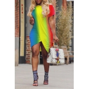 Lovely Casual Color-lump Patchwork Multicolor Mini Dress