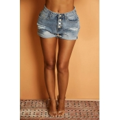 Lovely Casual Button Design Blue Shorts