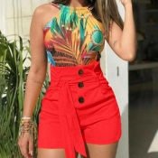 Lovely Chic Button Red Shorts
