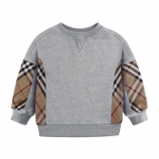 Lovely Casual Plaid Print Grey Boys Hoodie