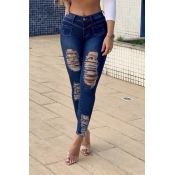 Lovely Casual  Button Skinny Deep Blue Jeans