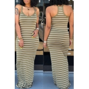 Lovely Casual Striped Army Green Maxi Dress