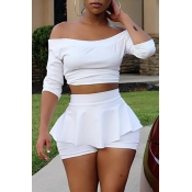 Lovely Casual Flounce Design White Two-piece Short