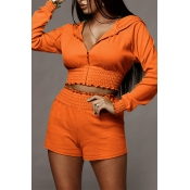 Lovely Casual Hooded Collar Crop Top Croci Two-pie