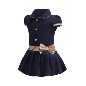 Lovely Sweet Patchwork Dark Blue Girl Mini Dress