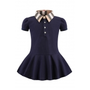 Lovely Sweet Buttons Design Dark Blue Girl Mini Dr