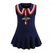 Lovely Chic Patchwork Dark Blue Girl Knee Length D
