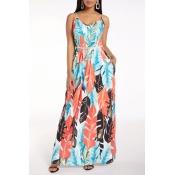 Lovely Sweet V Neck Print Loose Blue Maxi Dress