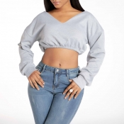 Lovely Sweet Crop Top Grey Sweatshirt Hoodie