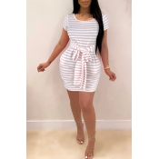 Lovely Casual O Neck Striped Pink Mini Dress