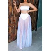 Lovely Trendy Basic White Two-piece Skirt Set