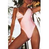 Lovely Hollow-out Light Pink Bathing Suit One-piece Swimsuit