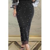 Lovely Trendy Nail Bead Design Black Skirt