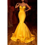 Lovely Party Dew Shoulder Yellow Prom Dress