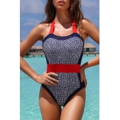 Lovely Patchwork Blue Bathing Suit One-piece Swims