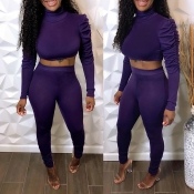 Lovely Casual Basic Skinny Purple Two-piece Pants