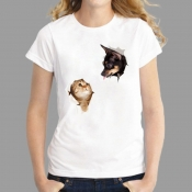Lovely Casual Dog And Cat Print White Plus Size T-