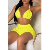 Lovely Lace-up Yellow Two-piece Swimsuit