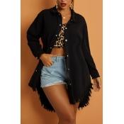 Lovely Street Tassel Design Black Jacket