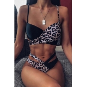 Lovely Leopard Print Two-piece Swimsuit(Two Kinds Of Tees)