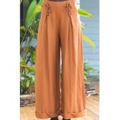 Lovely Casual Bandage Design Orange Pants