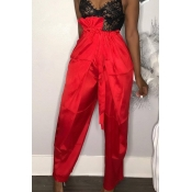 Lovely Leisure Lace-up Red Pants